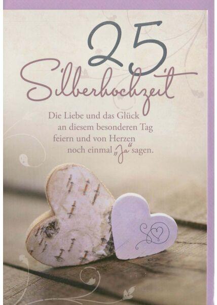 Glückwunschkarte Silberhochzeit mit liebevollem Spruch