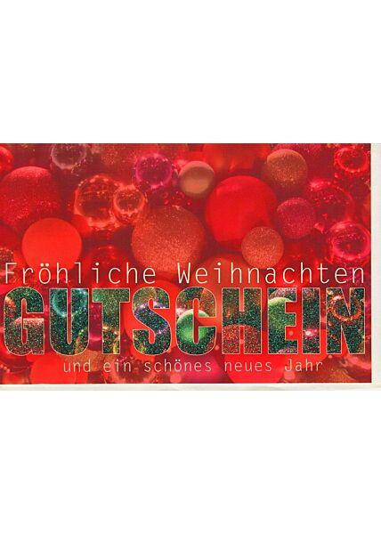 Weihnachtskarte für Gutschein rot