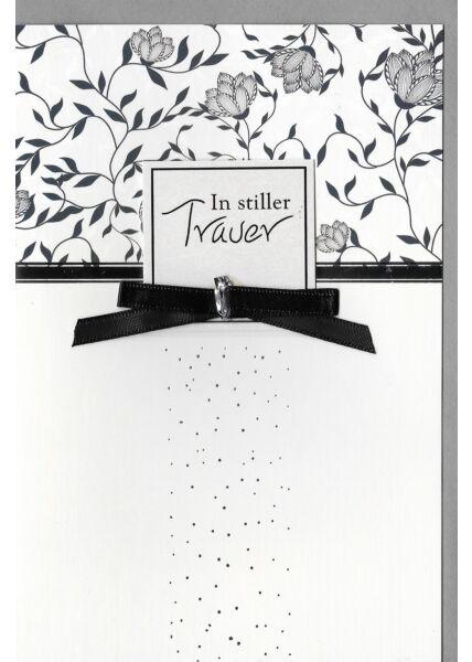 Trauerkarte Muster, mit aufgeblocktem Stanzteil und Schleife, mit Silberfolie