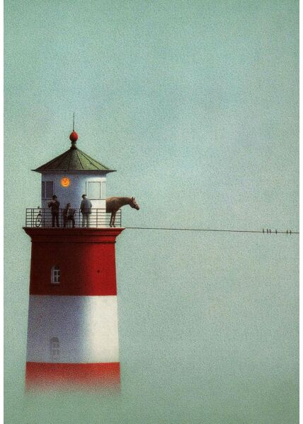 Postkarte Leuchtturm Pferd Männer