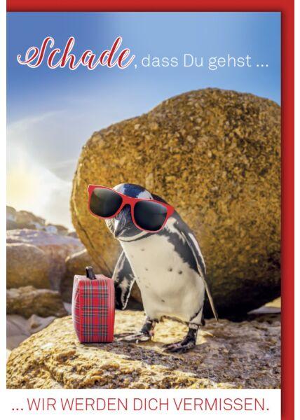 Abschiedskarte Arbeitskollege - Pinguin mit Brille und Koffer