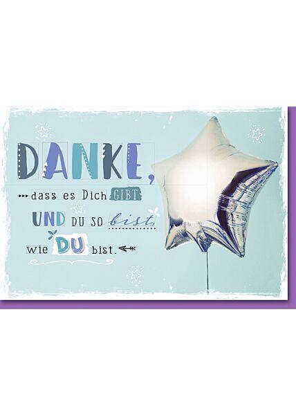 Danksagungskarte silberner Stern-Luftballon