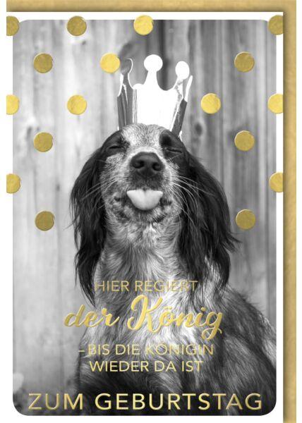 Geburtstagskarte lustig Hund mit Krone