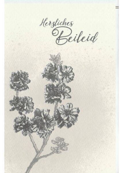 Trauerkarte Blüten, Naturkarton, mit Silberfolie und Blindprägung