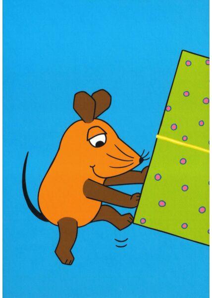 Maus-Postkarte Maus mit halben Geschenk Teil 1