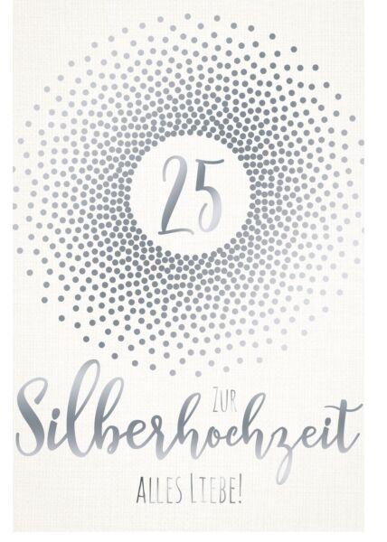 Glückwunschkarte Silberhochzeit premium Ice White Creative Paper