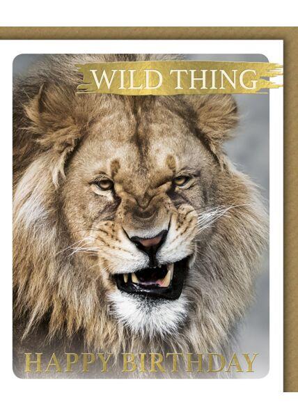 Glückwunschkarte Geburtstag Snapshot witzig Löwe Wild Thing
