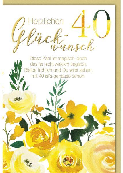 Geburtstagskarte 40 Jahre Diese Zahl ist magisch