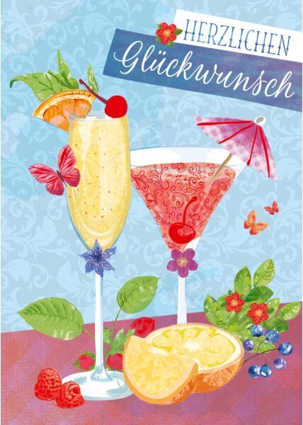 Geburtstagspostkarte Cocktails Herzlichen Glückwunsch