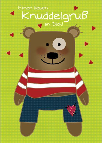 Postkarte Liebe Einen lieben Knuddelgruß an Dich