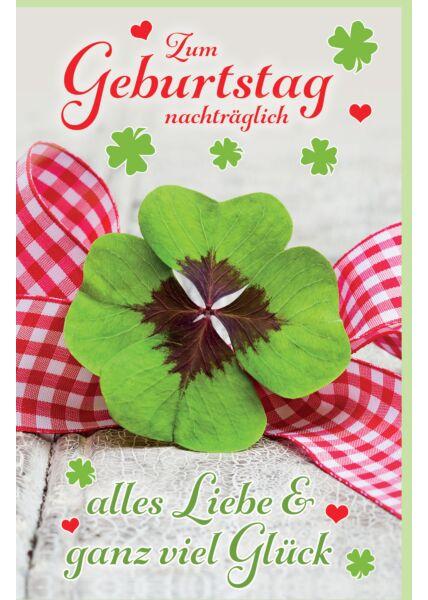 Geburtstagskarte nachträglich Glückskleeblatt und Schleife, mit Glimmer