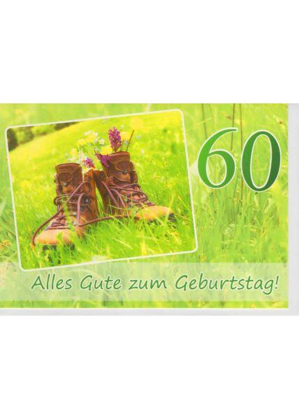 Geburtstagskarte 60 Wanderschuhe