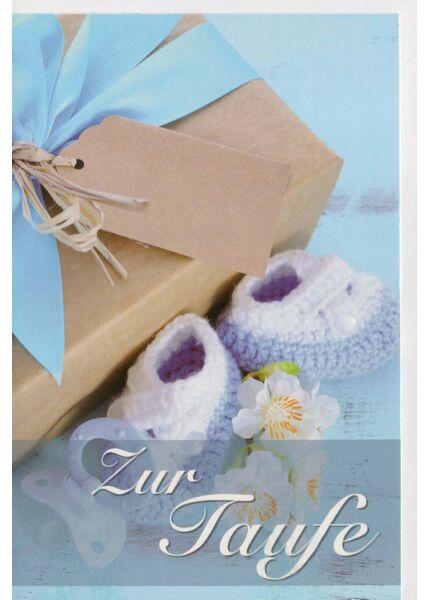 Glückwunschkarte Taufe Junge blau Geschenk