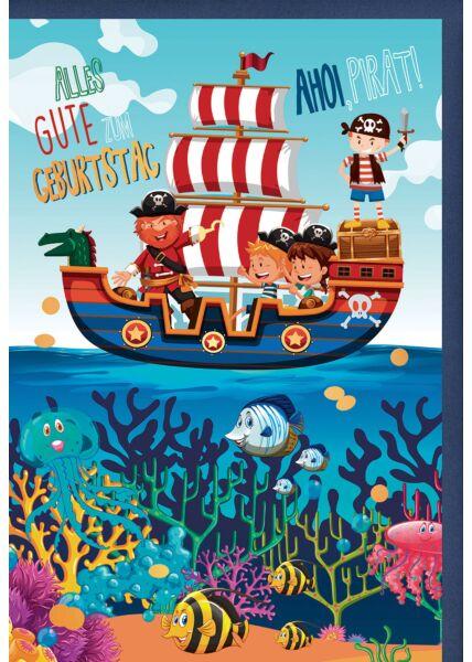 Kindergeburtstagskarte Piratenschiff, Fische und Korallen, mit Goldfolie