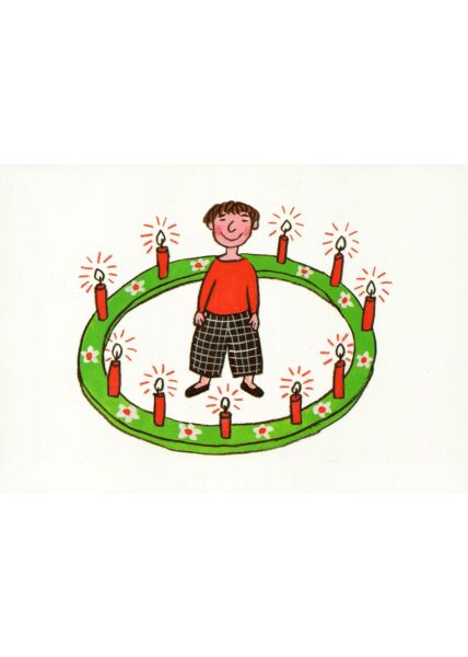 Postkarte Frau Kreis Kerzen