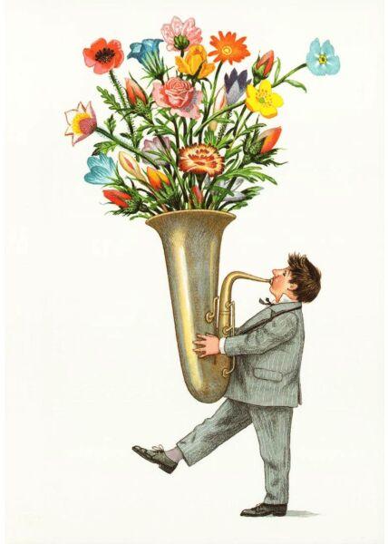Postkarte lustig Trompete Blumen