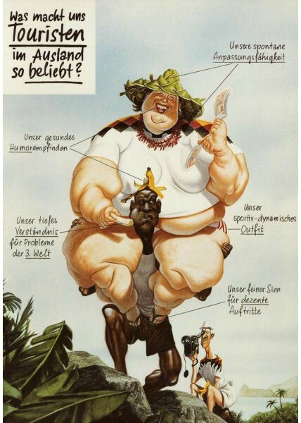 Postkarte Cartoon deutsche Touristen