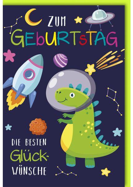 Geburtstagskarte für Kinder Dino im Weltall