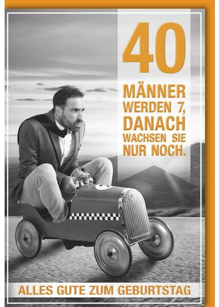 40.Geburtstagskarte lustig- Mann in Seifenkiste
