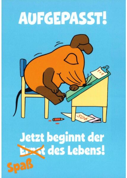 Maus-Postkarte Aufgepasst!