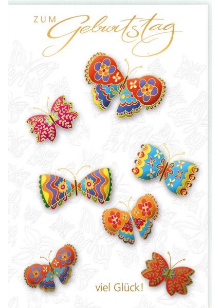 Glückwunschkarte Geburtstag mit bunten Schmetterlingen