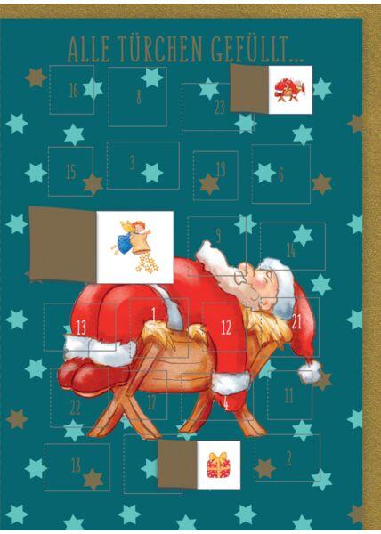 Adventskalender-Weihnachtskarte: Alle Türchen gefüllt - Weihnachtsmann