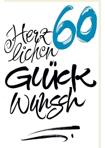 Geburtstagskarte 60 Schrifkarte, mit blauer Metallicfolie