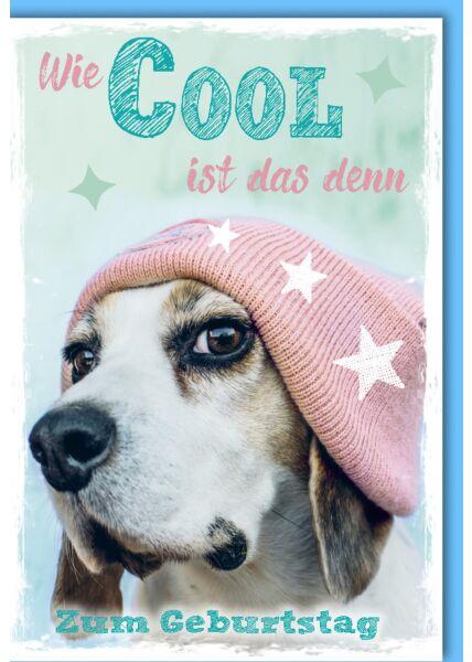 Glückwunschkarte Geburtstag Hund mit Mütze