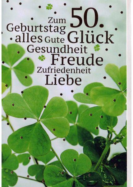 Geburtstagskarte 50. Geburtstag: Kleeblätter