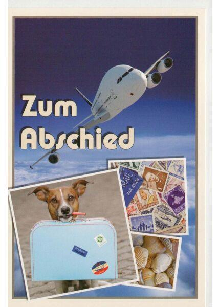 Karte Abschied Flugzeug Hund Koffer
