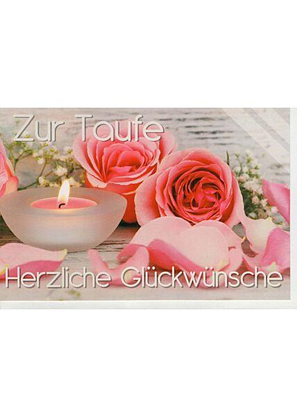 Glückwunschkarte Taufe Kerze und Rosen