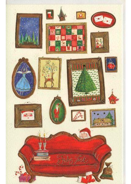 Weihnachtsgrußkarte Naturkarton Nikolaus Sofa