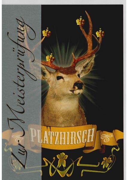 Glückwunschkarte zur Meisterprüfung Hirsch