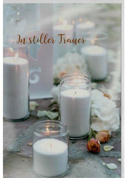 Trauerkarte Kerzen schlicht In stiller Trauer