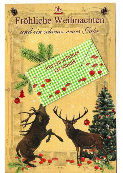 Weihnachtskarte mit Kuvert für Geldgeschenk