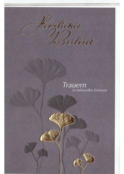 Trauerkarte Gingkoblätter, Naturkarton, mit Goldfolie und Blindprägung