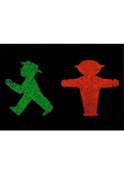 Postkarte Ampelmännchen grün und rot