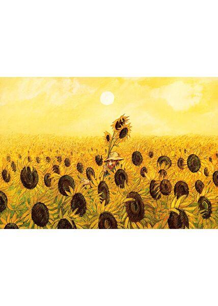 Postkarte Mann in Sonnenblumenwiese