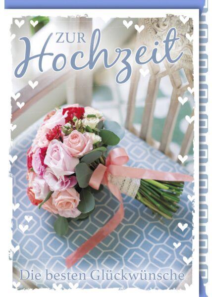 Hochzeitskarte Spruch Brautstrauß mit Rosen und rosa Band