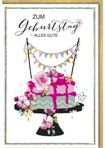 Geburtstagskarte premium originell Blumentorte