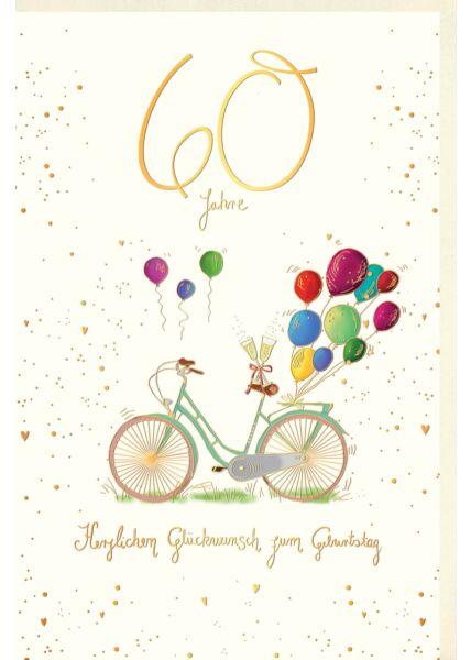 Geburtstagskarte 60 Jahre Fahrrad mit Sektgläsern und bunten Luftballons, Naturkarton, mit Goldfolie und Blindprägung