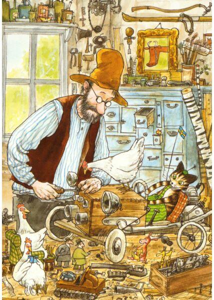 Postkarte Pettersson und Findus Die Seifenkiste