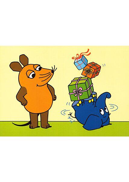 Maus-Postkarte Maus mit Elefant und Geschenken