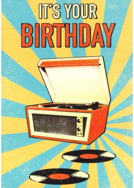 Postkarte Geburtstag retro Schallplatte It's your Birthday