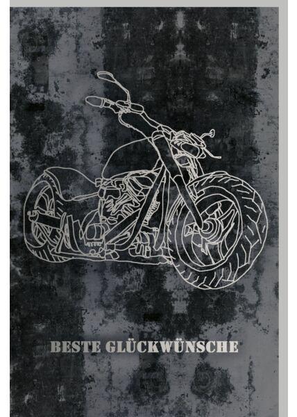 Geburtstagskarte für Männer Silhouette eines Motorrads