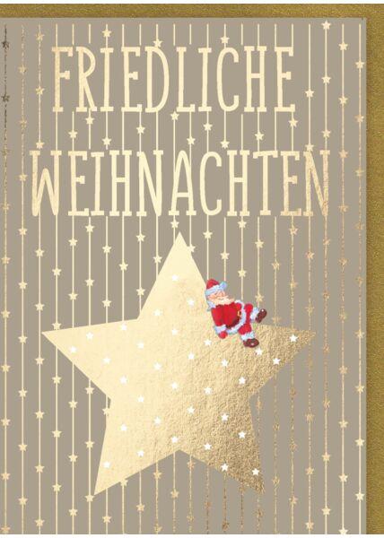 Weihnachtskarte: Friedliche Weihnachten - Stern mit Weihnachtsmann