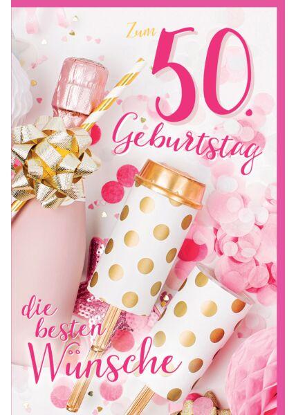 Geburtstagskarte 50 Piccolo-Flasche mit Strohhalm, Tischraketen