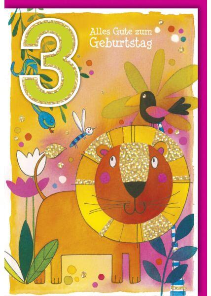 Geburtstagskarte für Kinder 3 Jahre Dschungeltiere