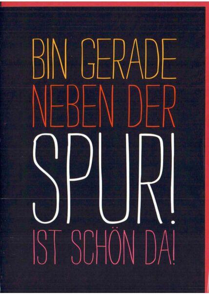 Karte Spruch: schwarz mit bunter Schrift rot (I)