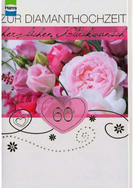 Diamantenhochzeit: 60 im rosa Herz mit Rosen